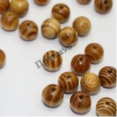 Бусины деревянные с рисунком, 12 мм
