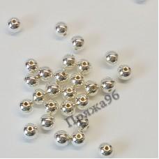 Бусины серебряные, 8 мм