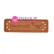 Бирка Hand made под кожу 15х50 мм, птичка