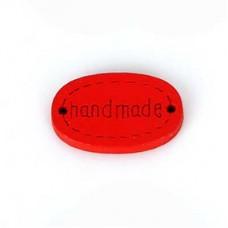 Бирка Hand made 20х10 мм, дерево, овал, цвет красный