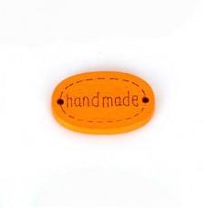 Бирка Hand made 20х10 мм, дерево, овал, цвет оранжевый