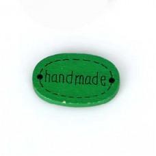 Бирка Hand made 20х10 мм, дерево, овал, цвет зеленый