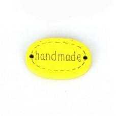 Бирка Hand made 20х10 мм, дерево, овал, цвет желтый