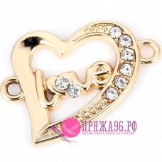 Подвеска сердечко Love 21х23 мм, цвет золотой