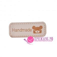 Бирка Hand made под кожу 12х42 мм, бежевый с коричневым мишкой