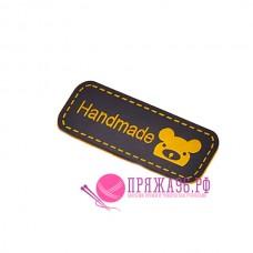 Бирка Hand made под кожу 12х42 мм, черный с желтым мишкой
