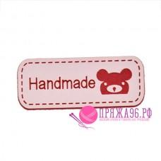 Бирка Hand made под кожу 12х42 мм, розовый с красным мишкой