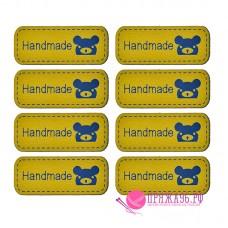 Бирка Hand made под кожу 12х42 мм, темно-желтый с синим мишкой