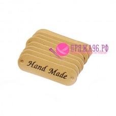 Бирка Hand made под кожу 12х45 мм, золото