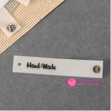 Бирка Hand made съёмная, 80×15 мм, цвет белый