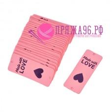 Бирка Made with love, вертикальная, под кожу 20х50 мм, розовый