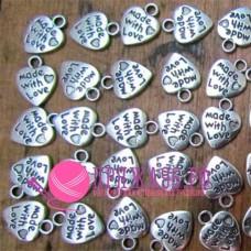 Подвеска сердечко Made with love 9х12 мм, цвет серебро