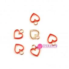 Подвеска сердечко красное 12х10 мм, цвет золото/красный