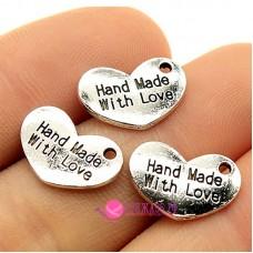 Подвеска сердечко Nand Made With Love 15х10 мм, цвет серебро