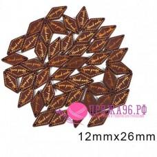 Бирка ромб коричневый Hand made 12х26 мм, дерево