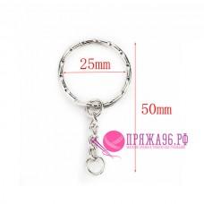 Кольцо с цепочкой для брелка, цвет никель