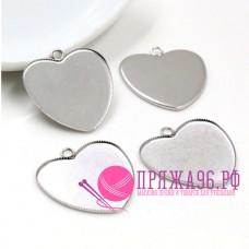 Основа для кулона, сердечко 25 мм, цвет серебро