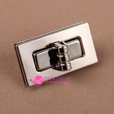 Застёжка для сумки поворотная, 4,4 х 2,5 см, цвет серебро