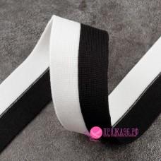 Лампас 35 мм, цвет чёрный - белый