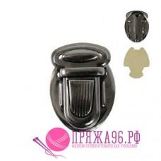 Застежка портфельная 25х34 мм, цвет черный