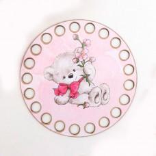 Круг d=10 см, фанера 3 мм - Мишка с цветком