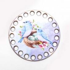 Круг d=10 см, фанера 3 мм - Птицы в гнезде