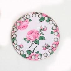 Круг d=10 см, фанера 3 мм - Роза на веточке