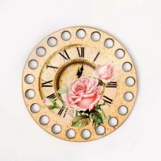 Круг d=10 см, фанера 3 мм - Роза с часами