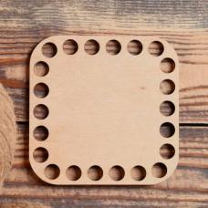 Квадрат скругленный 10 см, фанера 3 мм - Донышко для корзинки