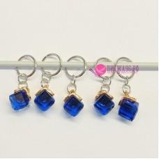 Маркеры для вязания, кубики синие, 5 штук