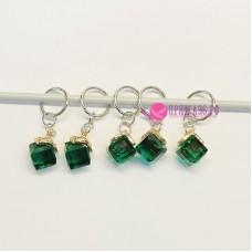 Маркеры для вязания, кубики зеленые, 5 штук