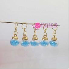 Маркеры для вязания, шарики голубые, 5 штук