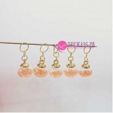 Маркеры для вязания, шарики персиковые, 5 штук