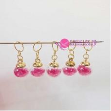 Маркеры для вязания, шарики розовые, 5 штук