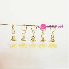 Маркеры для вязания, шарики желтые, 5 штук