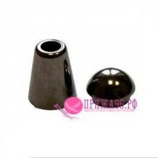 Наконечник Колокол, 20х12 мм, пластик под металл черный никель, с крышкой