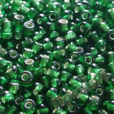 Бисер 6/0, цвет - зеленый блестящий (1-6), 10г
