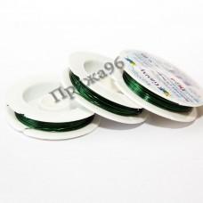 Проволока для бисероплетения в катушке, зеленая, 0,4 мм, 10 м