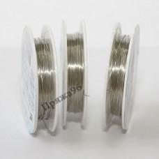 Проволока для бисероплетения в катушке, серебро, 0,25 мм, 10 м