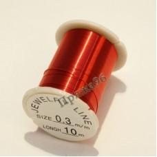 Проволока для бисероплетения 0,3 мм, цвет красный, 10 м