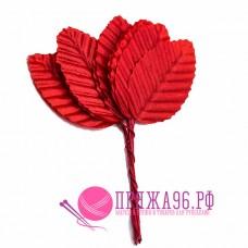 Листочки декоративные 3х5 см, цвет красный