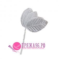 Листочки декоративные 3,8х6 см, цвет серебряный