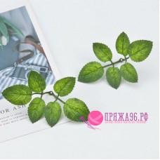 Листочки декоративные 6,5х3,5 см, цвет зеленый