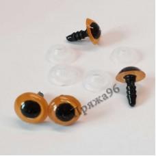Глазки для игрушек 8 мм, оранжевые на шурупе