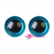 Глазки для игрушек 20 мм, голубые с блестками на шурупе