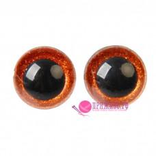 Глазки для игрушек 14 мм, оранжевые с блестками на шурупе