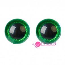 Глазки для игрушек 16 мм, зеленые с блестками на шурупе