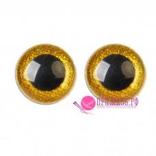 Глазки для игрушек 14 мм, желтые с блестками на шурупе