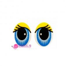 Глазки на ножке 20х15 мм, цвет голубо-желтый