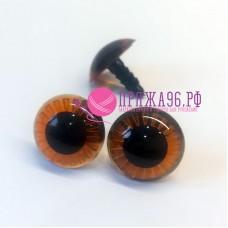 Глазки для игрушек 20 мм, с лучиками, коричневые на шурупе без крепежа